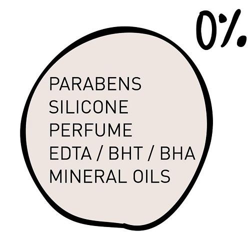 Free parabens, silicone, perfume, mineral oils, EDTA/BHT/BHA